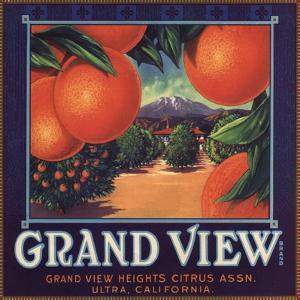 Grand View Brand - Ultra, California - Citrus Crate Label by Lantern Press