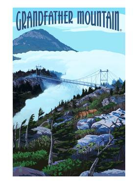Grandfather Mountain, North Carolina - Bridge and Clouds by Lantern Press