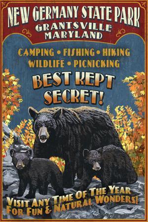 Grantsville, Maryland - Black Bear Vintage Sign by Lantern Press