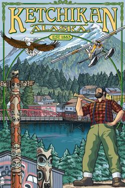 Great Alaskan Lumberjack Show - Ketchikan, Alaska Views by Lantern Press