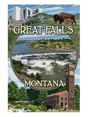 Great Falls, Montana - Montage by Lantern Press