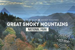 Great Smoky Mountains - Day - Rubber Stamp by Lantern Press