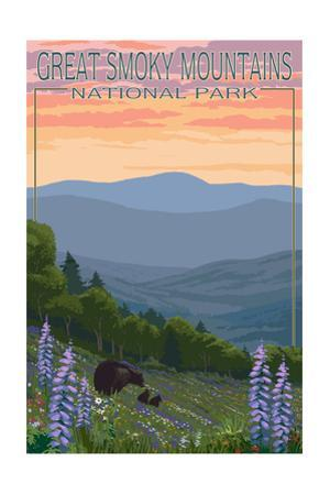Great Smoky Mountains National Park - Bear and Spring Flowers by Lantern Press