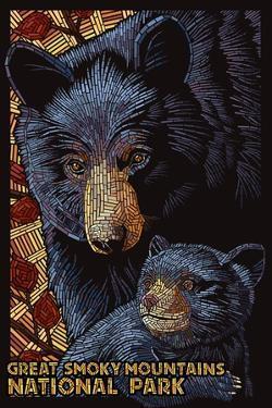 Great Smoky Mountains National Park - Black Bears - Mosaic by Lantern Press