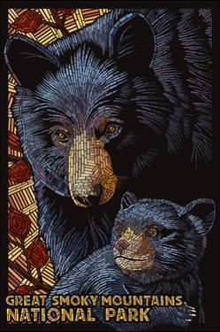 Great Smoky Mountains National Park - Black Bears - Mosaic by Lantern Press