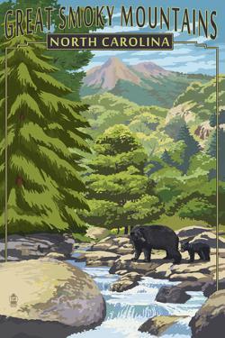 Great Smoky Mountains, North Carolina - Bear Family and Creek by Lantern Press