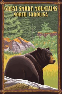 Great Smoky Mountains, North Carolina - Black Bear in Forest by Lantern Press