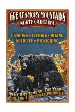 Great Smoky Mountains, North Carolina - Black Bears Vintage Sign by Lantern Press