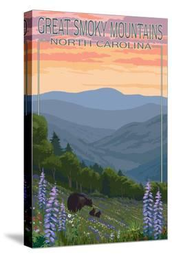 Great Smoky Mountains, North Carolina - Spring Flowers and Bear Family by Lantern Press