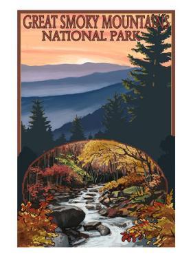 Great Smoky Mountains - Waterfall, c.2009 by Lantern Press