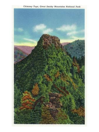 Great Smoky Mts Nat'l Park, TN - View of the Chimney Tops by Lantern Press