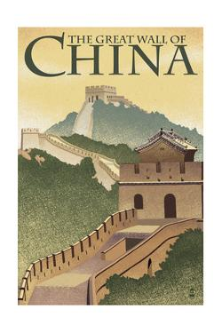 Great Wall of China - Lithograph Style by Lantern Press
