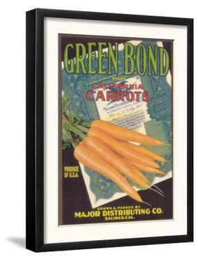 Green Bond Carrot Label - Salinas, CA by Lantern Press
