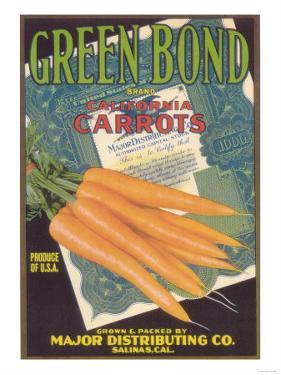 Green Bond Carrot Label - Salinas, CA by Lantern Press