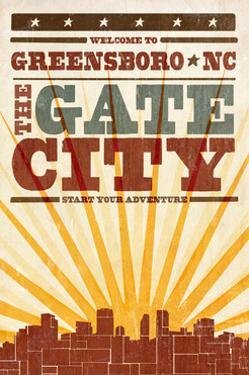 Greensboro, North Carolina - Skyline and Sunburst Screenprint Style by Lantern Press