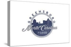 Greensboro, North Carolina - Skyline Seal (Blue) by Lantern Press