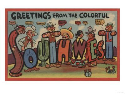 Greetings from the Colorful Southwest - Large Letter Scenes by Lantern Press