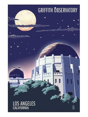 Griffith Observatory at Night - Los Angeles, California by Lantern Press