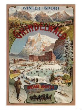 Grindelwald, Switzerland - View of the Bear Hotel Promotional Poster by Lantern Press