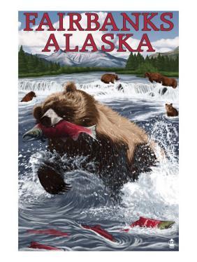 Grizzly Fishing Salmon - Fairbanks, AK by Lantern Press
