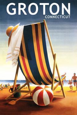 Groton, Connecticut - Beach Chair and Ball by Lantern Press