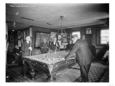 Group of Gentlemen Playing Pool at Billiards Hall Photograph by Lantern Press