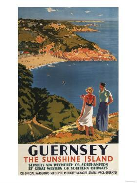 Guernsey, England - Southern/Great Western Rail Couple on Cliff Poster by Lantern Press