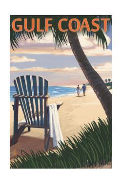 Gulf Coast - Adirondack Chairs and Sunset by Lantern Press