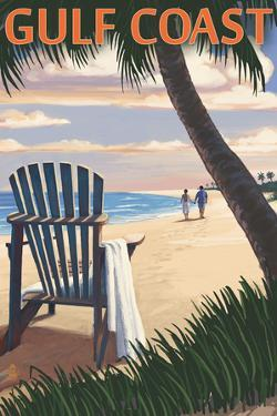 Gulf Coast - Adirondack Chairs and Sunset by Lantern Press