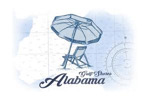 Gulf Shores, Alabama - Beach Chair and Umbrella - Blue - Coastal Icon by Lantern Press