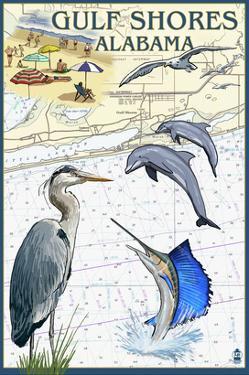 Gulf Shores, Alabama - Nautical Chart by Lantern Press