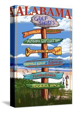 Gulf Shores, Alabama - Sign Destinations by Lantern Press