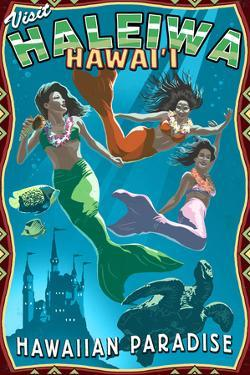 Haleiwa, Hawai'i - Mermaids by Lantern Press