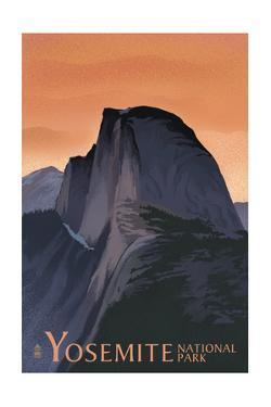 Half Dome - Yosemite National Park, California Lithography by Lantern Press