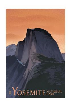 Half Dome - Yosemite National Park, California Lithography by Lantern Press