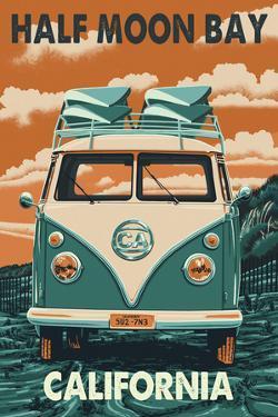Half Moon Bay, California - VW Van by Lantern Press