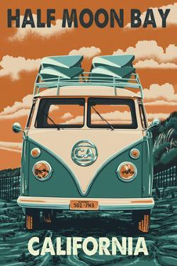 Half Moon Bay, California - VW Van by Lantern Press