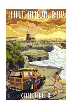 Half Moon Bay, California - Woody and Lighthouse by Lantern Press