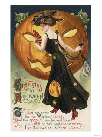 Halloween Greeting - Witch Dancing and Pumpkin by Lantern Press