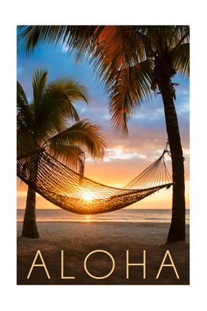 Hammock and Sunset - Aloha by Lantern Press