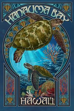 Hanauma Bay, Hawai'i - Sea Turtle - Art Nouveau by Lantern Press