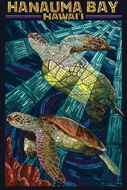 Hanauma Bay, Hawai'i - Sea Turtle - Mosaic by Lantern Press
