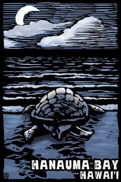 Hanauma Bay, Hawai'i - Sea Turtle - Scratchboard by Lantern Press