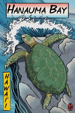 Hanauma Bay, Hawai'i - Sea Turtle - Woodblock Print by Lantern Press