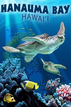 Hanauma Bay, Hawai'i - Sea Turtles Swimming by Lantern Press