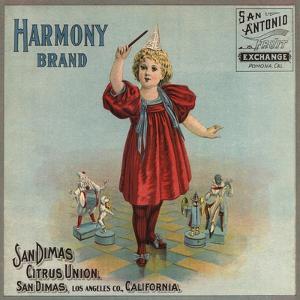 Harmony Brand - San Dimas, California - Citrus Crate Label by Lantern Press