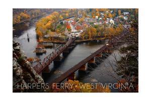 Harpers Ferry, West Virginia - Birds Eye View by Lantern Press