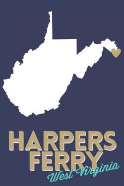 Harpers Ferry, West Virginia - State Outline and Heart by Lantern Press