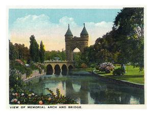 Hartford, Connecticut - Bushnell Park Memorial Arch and Bridge Scene by Lantern Press