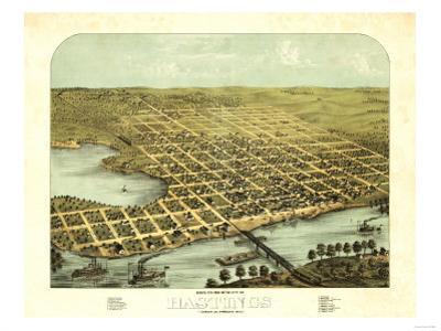 Hastings, Minnesota - Panoramic Map by Lantern Press